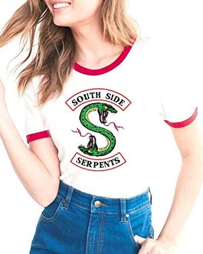 Riverdale South Side Serpent Tee Shirt Manche Courte Femme Sport Tunique Blouse Imprime Serpent Motif Chemise Col Rond Haut Ete Ado Mode Sweat Swag Pull Hip Hop Streetwear Basique Simple Jumper Top