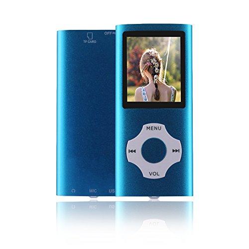 Ueleknight MP3/MP4-Player mit einer 16G Micro SD-Karte, Portable Digital Music Player auch als Sprachaufzeichnung/FM-Radio/Video/E-Book-Reader, 1,8 Zoll LCD-Bildschirm Economic MP3 Player-Blau