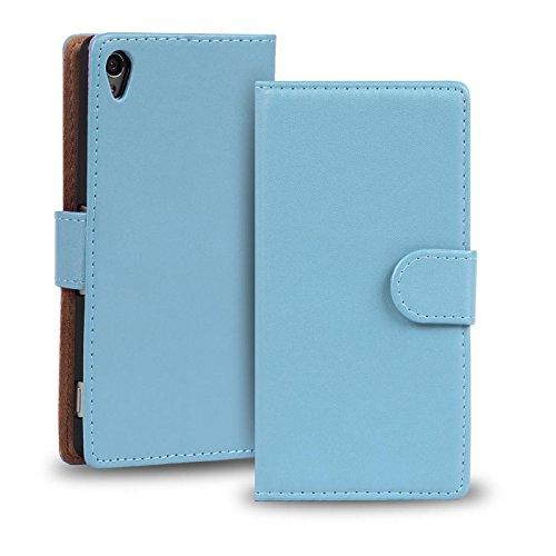Verco Xperia Z2 Hülle, Handyhülle für Sony Xperia Z2 Tasche PU Leder Flip Case Brieftasche - Hellblau