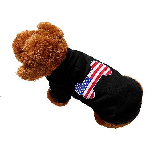 stier Hundekleidung Welpen Brief Bestickt Polyester T-Shirt Weste Mode Pullover, warme Hund Pullover Cat Kleidung, Fleece Haustier Mantel ()