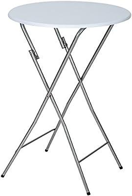 TecTake Mesa de bar y bistró Mesa de pie 60 cm diámetro blanca plegable y robusta