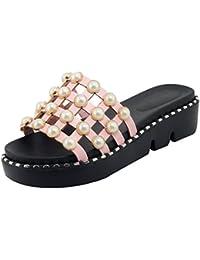 UH Damen Flache Plateau Sandalen T Strap Sandaletten mit Perlen Flach Frezeit Schuhe