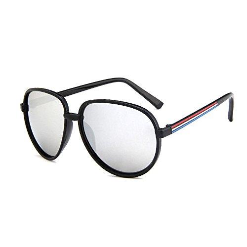 Forepin® Große Runde Mode Pilotflieger Sonnenbrille Sunglasses für Erwachsene mit Federscharnier, (Schwarz Weiß Und Katzenaugen Brille Weinlese)