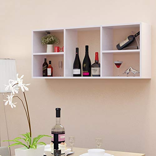Wine Rack - ♦ JJ Wine Rack - Wandregal zur Wandmontage Separates, stabiles Rack Keine Tür Leicht zu lagern -0422 (Farbe : Weiß, größe : 120 × 24 × 50cm) -