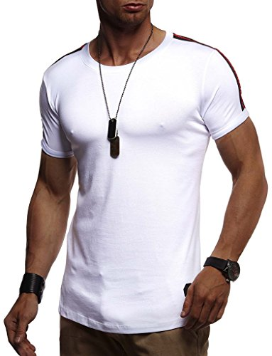 LEIF NELSON Herren Sommer T-Shirt Rundhals-Ausschnitt Slim Fit Baumwolle-Anteil | Moderner Männer T-Shirt Crew Neck Hoodie-Sweatshirt Kurzarm lang | LN1385 Weiß Medium