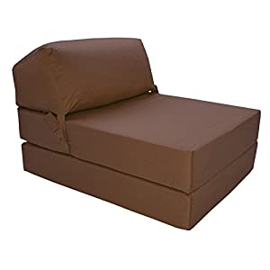 41eoQ6ICHBL. SS300  - Gilda | Futon Z Chair bed (Jazz Cushion) Outland - Single Clean Coated Polyester Fabric With Bounce Back Fibre Blocks (Indoor And Outdoor) (Water And Stain Resistant)(Brown)