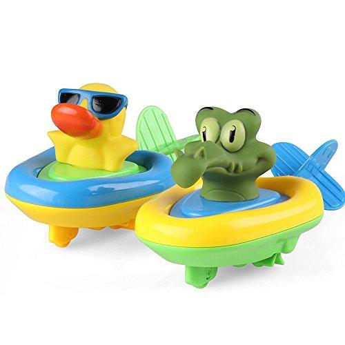 Coogam Amphibious Pull und Go Auto Spielset Baden Weiche Gummi Ente Krokodil Tier Schwimmen Bathtime Spaß Badewanne Spielzeug für Jungen Mädchen Kleinkinder (2er Set)