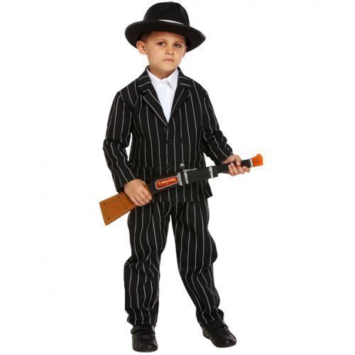 Jungen Kinder 1920s Jahre 20s Gangster Gangsta Mafia Bugsy Malone Halloween Kostüm Kleid Outfit 4-12 Jahre - Schwarz/weiß, Schwarz/weiß, 4-6 Years (Gangster Halloween Kostüme Für Kinder)
