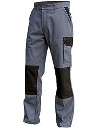 Pantalon de travail poches genoux TYPHON gris-noir - 64-66, Noir et Gris