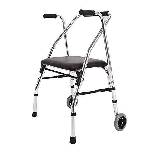 Mr.LQ Walking Frame Leichtgewicht Falten 2 Räder Rollator Walker mit Padded Seat Limited Mobilibility Aid -