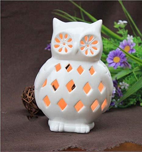 YANGBAO Kerzenhalter Lampe 2Pcs Weißer Abstrakter Leuchter Aushöhlte Kerzen Eulenlaterne Halloween-Dekoration Für Halloween-Hochzeit