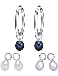 Valero Pearls - Aros embellecidos con Perlas de agua dulce - 925 Plata esterlina - Pearl Jewellery, Pendientes, Pendientes de Plata esterlina, Joyería de plata - 60840011