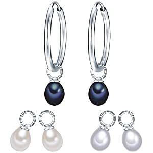 Valero Pearls Classic Collection Damen-Creolen Süßwasser-Zuchtperlen weiß / silber / pfauenblau 925 Sterlingsilber 60840011