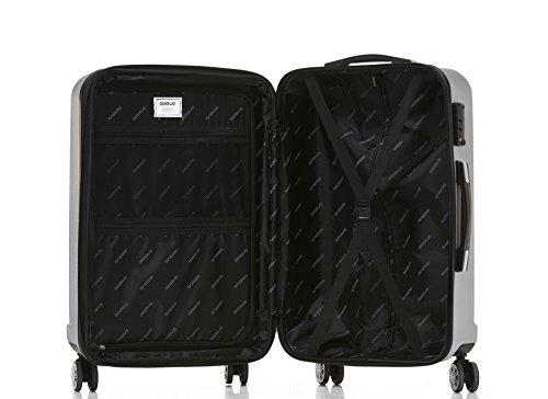 BEIBYE TSA-Schloß 2080 Hangepäck Zwillingsrollen Reisekoffer Koffer Trolley Hartschale Set-XL-L-M(Boardcase) (Silber, M) - 7