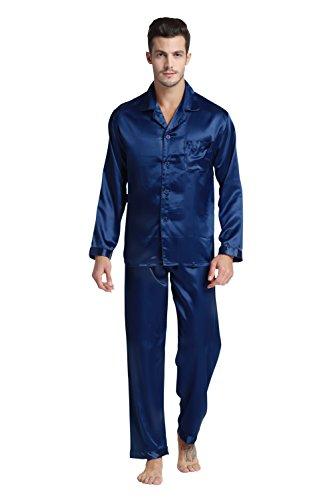 TONY AND CANDICE Tony & Candice Herren Pyjama Lang Klassische Satin Schlafanzug (XXL, Blau)