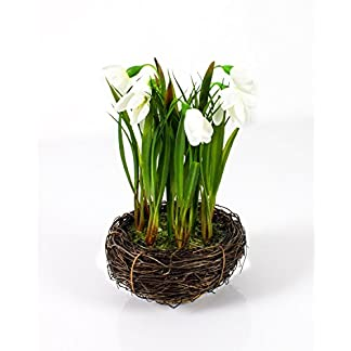 artplants.de Campanilla Artificial en Nido Grande, Blanco, 20cm, Ø 14cm – Flor Campanilla Artificial – Planta Decorativa