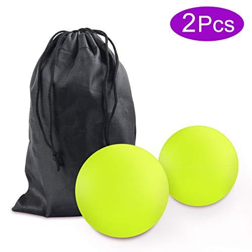 Massageball Set, JEVDES Lacrosse Ball Massage für Alle Muskelgruppen und Kleine Schwer Erreichbare Triggerpunkte, Trigger Point Therapie Massage Balls für Selbst-Massage Faszien(2 Pcs Hellgrün)
