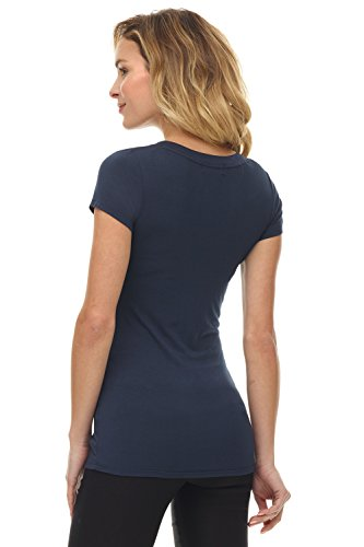 Rekucci Damen Basic-Kurzarm-Schaufelhals T-Shirt Perfectly Soft Marine
