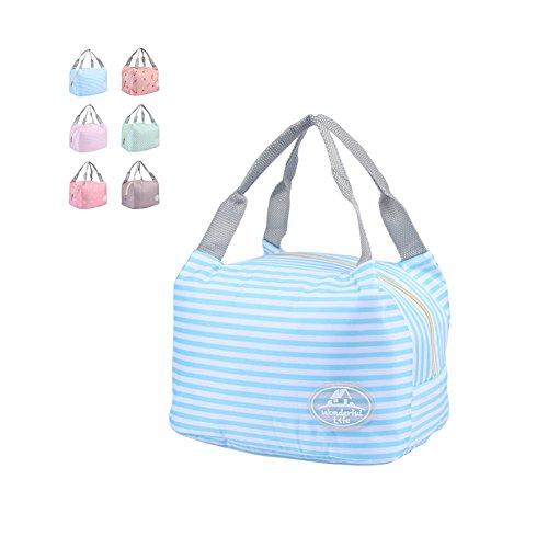 thermal insulation tote bag lunch bag, Borsa porta pranzo, impermeabile Borsetta bella borsa in tessuto poliestere stampa Pranzo al sacco Pranzo picnic sacchetto-Blu