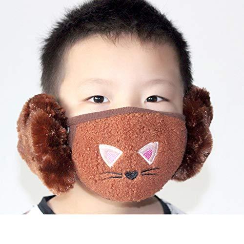 KOUZHAO Staubmaske Maske Kinder Ohrenschützer Herbst und Winter Baumwolle Cartoon niedlich Reiten dicke Jungen und Mädchen warm zwei in einem, Kinder Kaffee