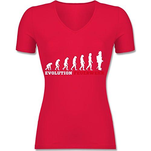 Feuerwehr - Evolution Feuerwehr - Tailliertes T-Shirt mit V-Ausschnitt für Frauen Rot