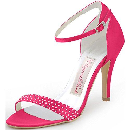 ElegantPark HP1408 Femme Escarpins Satin Diamant Bride Cheville Aiguille Talon Chaussures Sandales de Mariee Soiree Hot Pink