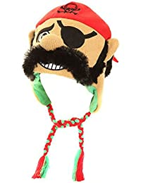 Mens Fancy Dress Novelty Knitted Peru Face Hat in One Size Pirate