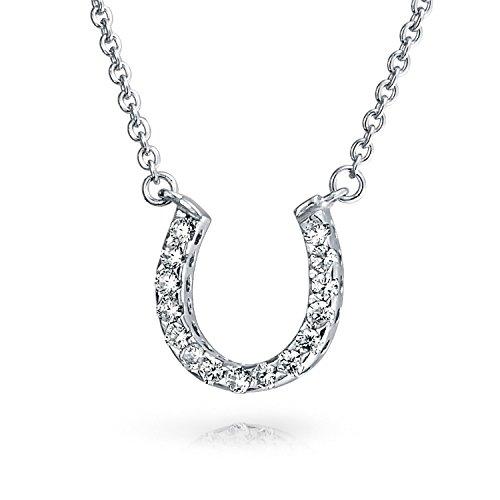 Bling Jewelry Pave CZ equestre pendente a ferro di cavallo Sterling Silver Necklace 16 pollici