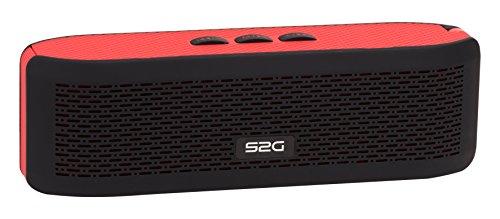 S2G FRESH Bluetooth Stereo Lautsprecher, FM Radio, USB, Micro SD, Spritzwassergeschützt, Freisprecheinrichtung, Kamera Auslöser, Karabiner, Griffig, Outdoor, Indoor - Rot/Schwarz