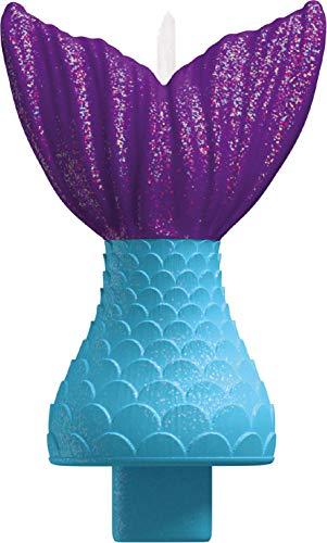Amscan 170528 Kerze Meerjungfrauen-Schwanz, Blau & - Muffin Mädchen Kostüm