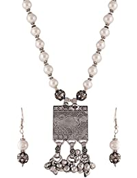 Ganapathy Gems Ethnic Tribal Antique Oxidised Silver Plated Beads White Metal Strand Necklace Set For Women &...