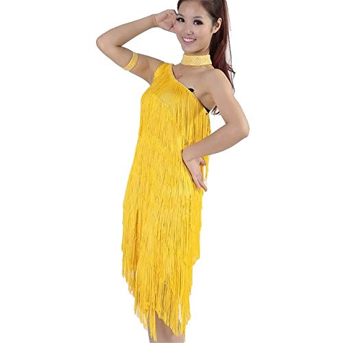 Cvbndfe Tanzkleid für Frauen Frauen Quaste Latin Dance Dress Outfit Eine Schulter Tango Rumba Ballsaal Dancewear Perlen Fringe Flapper Kleid Erwachsene Performance-Wettbewerb Kostüme - Elegantes Flapper Kostüm Für Erwachsene