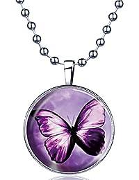 Yumilok Schmetterling Nachtleuchtend Anhänger Halskette Legierung Medaillon Amulett Kettenänhanger für Damen Mädchen, Blaues Licht
