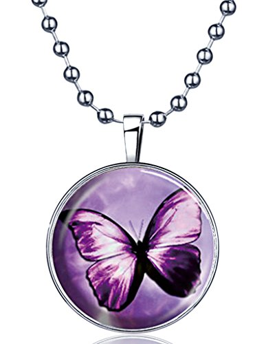 Yumilok Purple Butterfly Glow in the Dark Round Luminous Pendant Alloy Resin Locket Necklace for Women/Girls/Kids, Fluorescent Blue