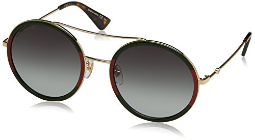 Gucci Damen GG0061S 003 Sonnenbrille, Gold/Green, 56