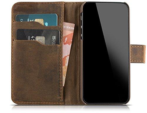 Blumax Ledercase Wallet Ledertasche für iPhone SE iPhone 5S 5 Vintage braun (Iphone 5s Braun Leder Flip Case)