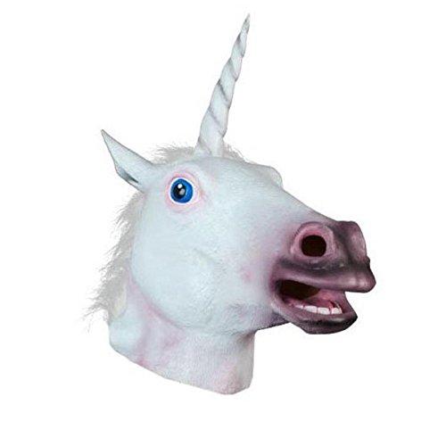 Butterme Halloween Kostüm Cosplay Party Latex Tier Pferd Kopf Maske für Erwachsene Weiß