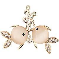 sewanz Donna Elegante Strass Opale Coppia di pesci Spilla Pins, Metallo Jewelry corpetto Costume Accessori