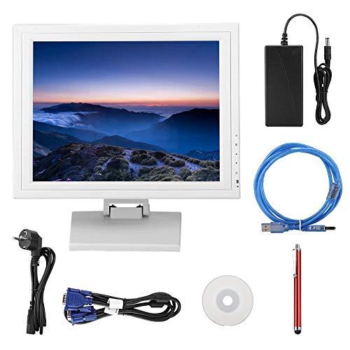 Oumij Kapazitiver 15-Zoll-TFT-LCD-Touchscreen Registrierkasse Touch A La Carte 100-240V, hoher Kontrast, hohe Helligkeit, Bildschichtung erheblich verbessern(Weiß)