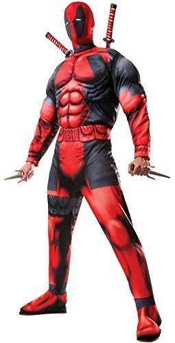 Herren Offiziell Marvel Deadpool Superheld Halloween Comic Kostüm Kleid Outfit STD XL - Herren, Rot, (Farben Deadpool Kostüm)