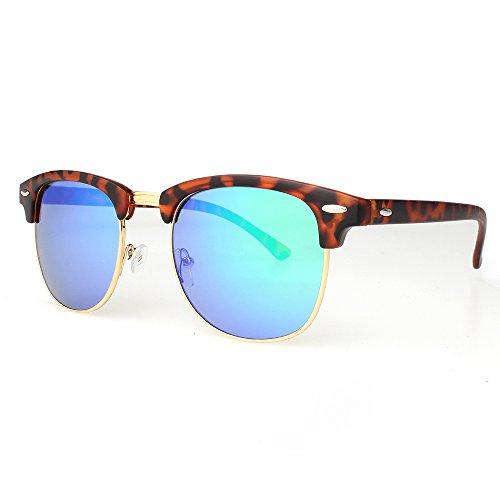DISTRESSED Clubmaster Vintage Sonnenbrille 60er Hornbrille - viele Farben -50mm tortoise-matt-blau/gruen-verspiegelt