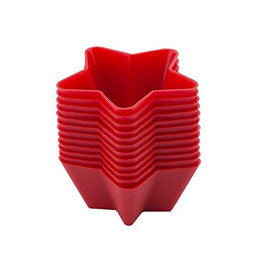 beicemania Rot Cupcake Formen Muffinförmchen Muffinform Silikon Stern 7cm 12er Gift Pack