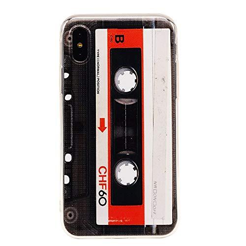 iPhone X Fall, tncy Bumper Weich Kassette Tape Gummi Schutz Haut Back Cover für Apple iPhone X - Tape-haut Fall