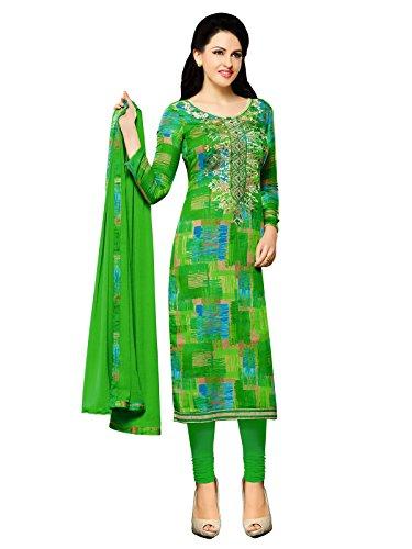 Mrinalika Fashion Women Cotton Silk Dress Material (Green Salwar Suit - Kil74018_Green_Free...