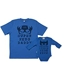 SR - Gift Boxed Dad & Baby Gift Set - Super Hero Daddy & Daddy's Little Side Kick Matching Father T-Shirt & Baby Babygrow