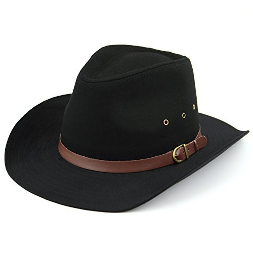 Hawkins Chapeau stetson à large bord Noir avec trous d'aération ou beige