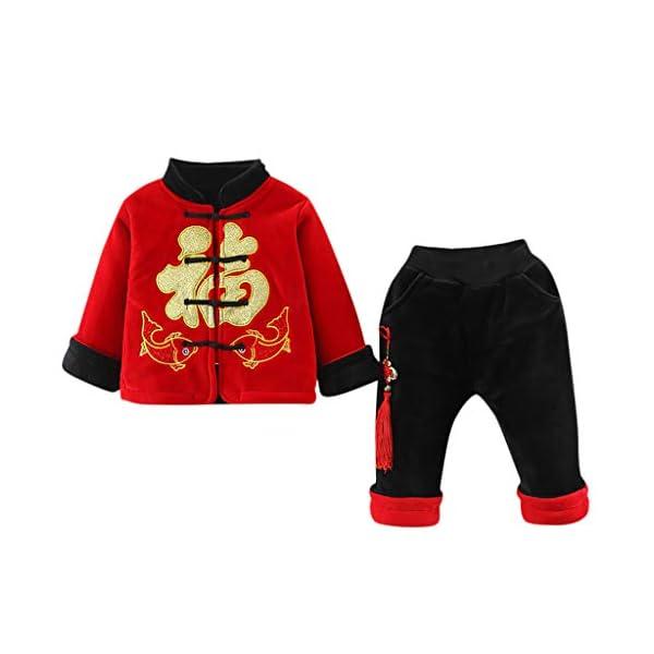 Tefamore Ropa Bebe Conjuntos Niños Deportivos Ropa Abrigo Pequeño Bebé Niños Año Nuevo Chino Traje Tang Estilo Chino… 1