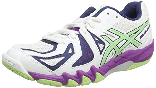 Asics Gel-blade 5, Damen Squashschuhe, Weiß (white/pistachio/grape 0187), 39.5 EU