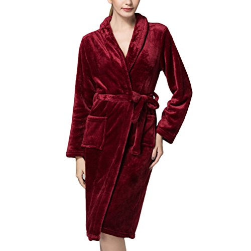 Zhuhaitf Gute Qualität Women's Luxurious Quality Dressing Gown Ladies Coral Fleece Bathrobe Warm, Soft & Cosy Towelling Robe Housecoat with Knee Length (Fleece Knee Warmers)