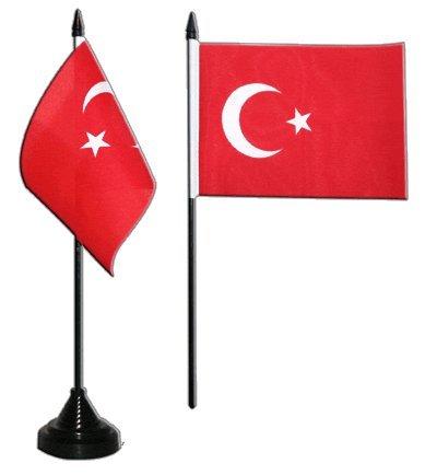 Tischflagge / Tischfahne Türkei + gratis Aufkleber, Flaggenfritze® (10 Türkei)
